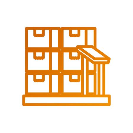 Boîtes en carton sur les échelles de stockage logistique icône illustration vectorielle Banque d'images - 87727374