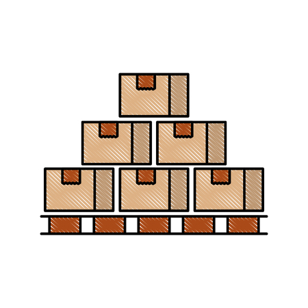 boxes on wood pallet closed carton delivery packaging fragile vector illustration
