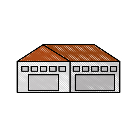 warehouse building exterior commercial empty vector illustration Ilustração
