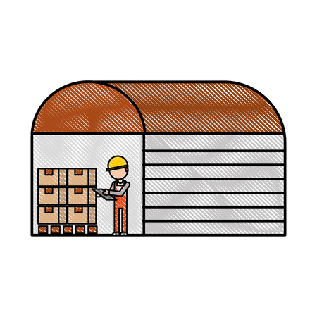 the warehouse worker of the display rack with boxes vector illustration Çizim