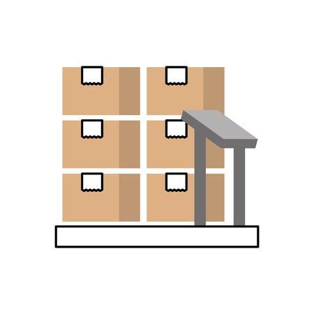 Boîtes en carton sur les échelles de stockage logistique icône illustration vectorielle Banque d'images - 87729440