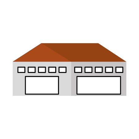 warehouse building exterior commercial empty vector illustration Illusztráció