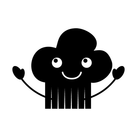 cartoon kitchen hat of chef cooking restaurant symbol vector illustration
