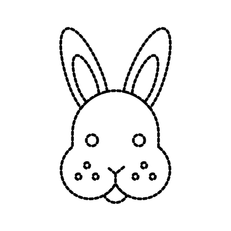 farm animal rabbit face cute furry vector illustration Ilustrace
