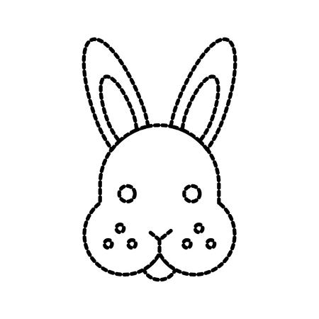 lapin animal lapin visage mignon vecteur de brosse illustration