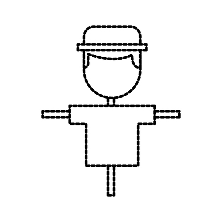scarecrow on wooden stick farm agriculture vector illustration