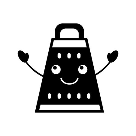 cartoon grater food preparation cooking equipment handle vector illustration
