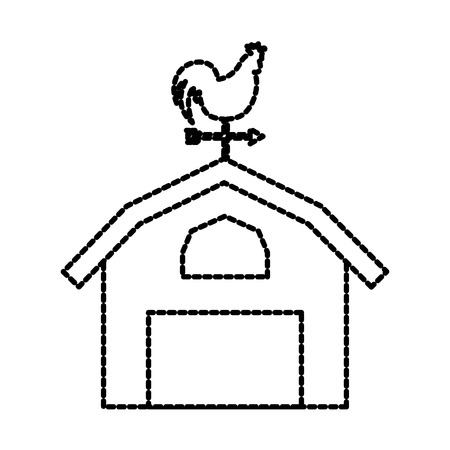 agriculture farm house building weather vane with cock vector illustration