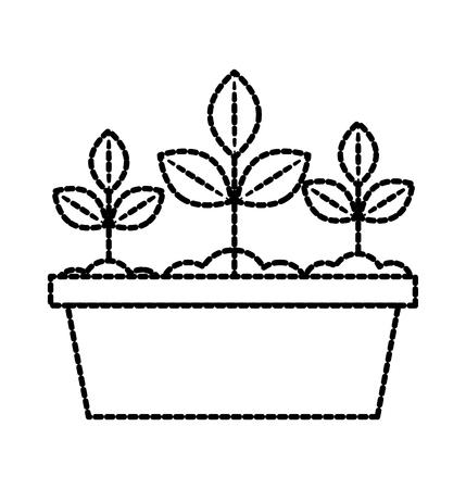 potted plant gardening natural decoration flora vector illustration