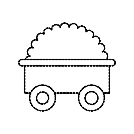 farm cart with bush natural gardening vector illustration