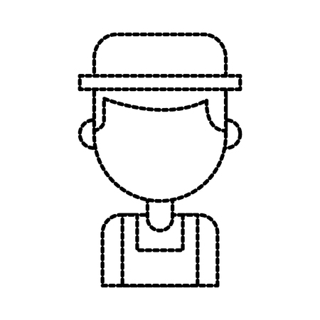 farmer in coveralls and hat character design vector illustration