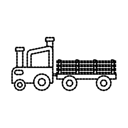 farm tractor trailer agriculture transport vector illustration