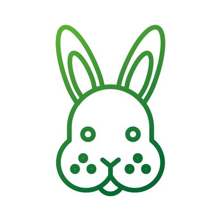 ファーム動物ウサギ顔のかわいい毛皮のようなベクトル図