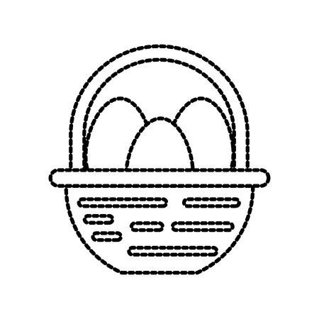 농장 바구니와 계란 음식 자연 벡터 일러스트