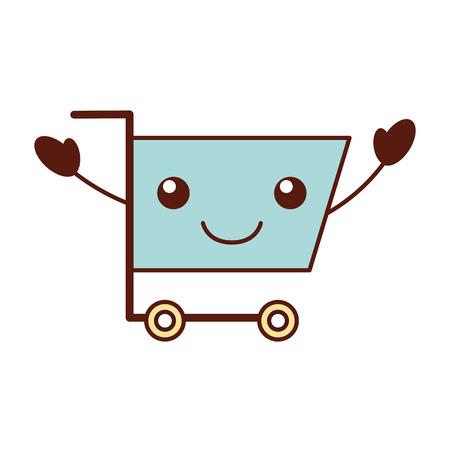 cart shopping empty supermarket cartoon vector illustration