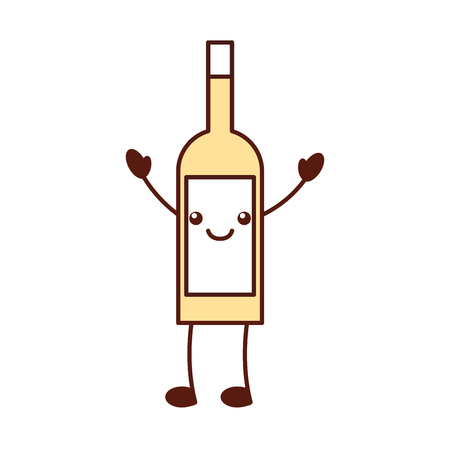 wine bottle drink beverage market cartoon vector illustration