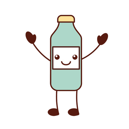bottle sausage market condiment cartoon vector illustration