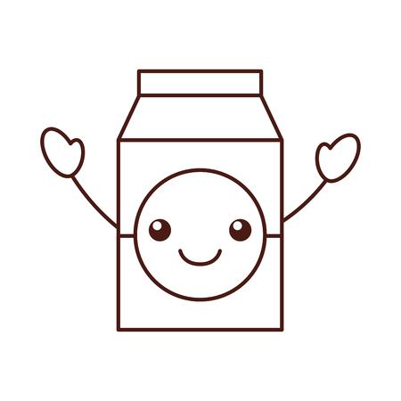 milk or juice box carton with drinking vector illustration Illustration