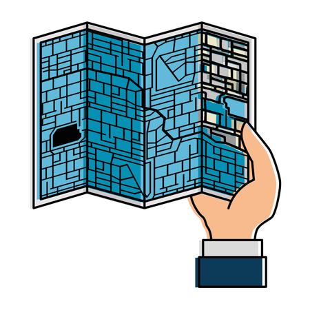 hand mens met papieren kaart geïsoleerd pictogram vector illustratie ontwerp