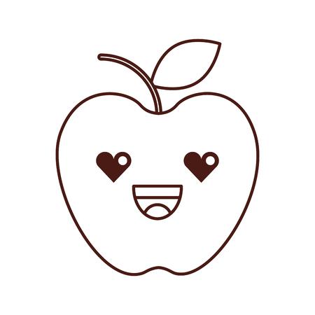fresh fruit apple food market cartoon vector illustration Illustration