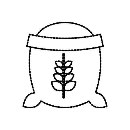 open zak van tarwe volledige bloem graan boerderij vectorillustratie Stock Illustratie