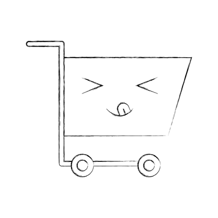 쇼핑 카트 빈 슈퍼마켓 만화 벡터 일러스트 레이션 일러스트