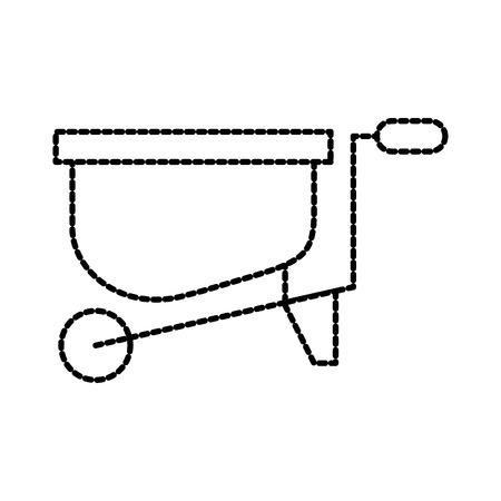 gardening wheelbarrow equipment work hard vector illustration