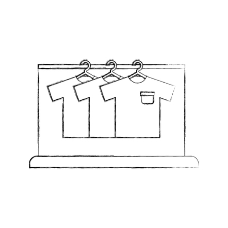 laundry garment hang cleaning washing vector illustration