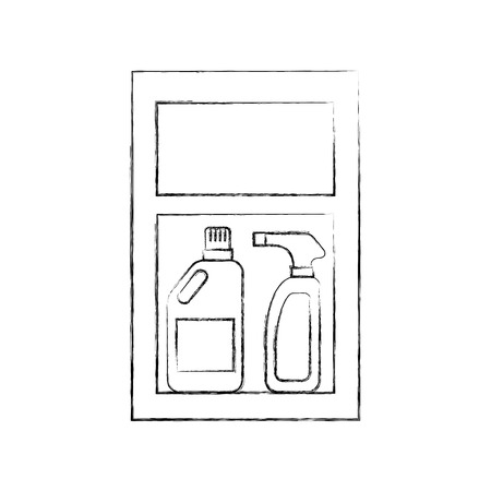 laundry drawer with detergent bottle and spray vector illustration