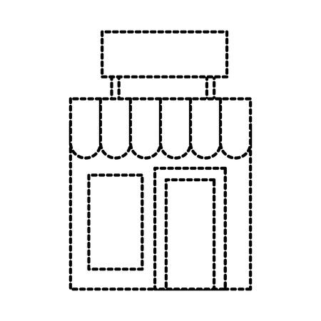 Costruzione facciata di lavanderia esterna con illustrazione vettoriale commerciale bordo Archivio Fotografico - 87732961