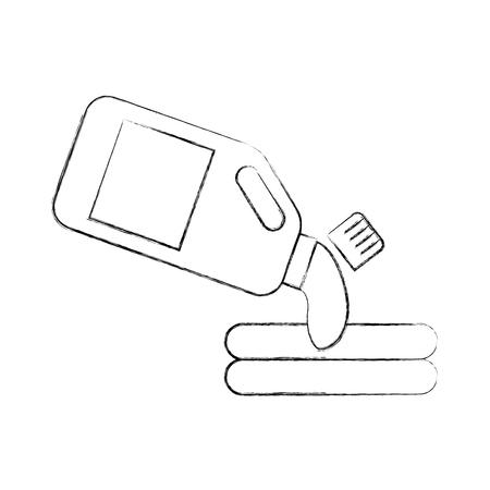 Contenitore di plastica con detersivo fuoriuscita di bevande su illustrazione vettoriale vestiti Archivio Fotografico - 87733240