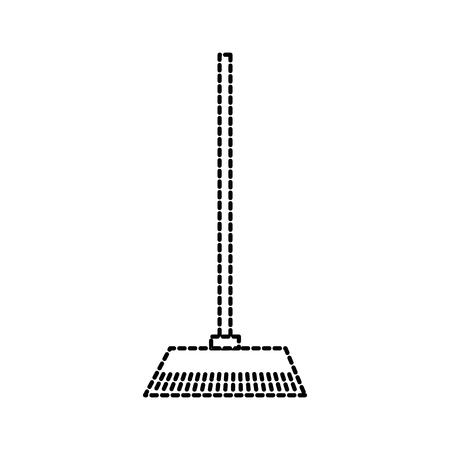 bezem gemaakt van twijgen op een lange houten handvat tool voor het reinigen van vectorillustratie