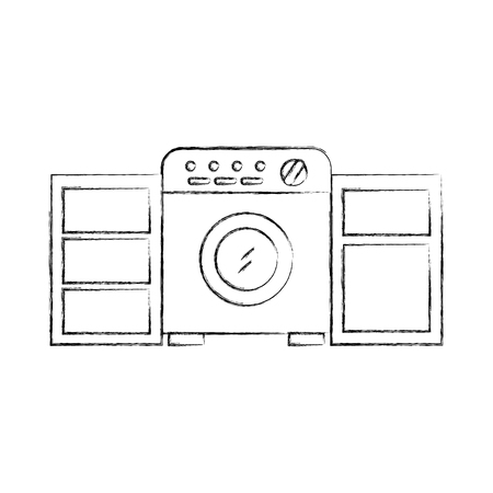 세탁기 옷장 가구 벡터 일러스트와 함께 세탁실