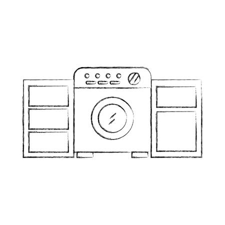 wasruimte met wasmachine kledingkast meubels vector illustratie