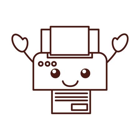 cartoon printer apparaat papier kopie blad technologie vectorillustratie