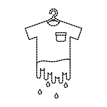 laundry garments hanging dripping icon vector illustration