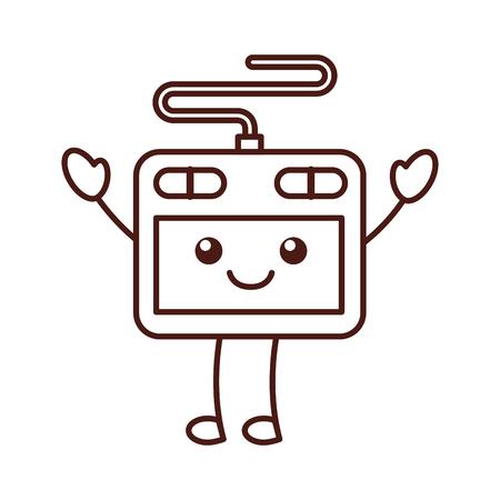 designer tablet pen digital tool graphic cartoon vector illustration