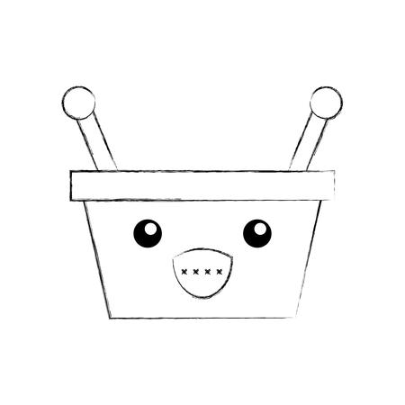 basket shopping supermarket handle cartoon vector illustration