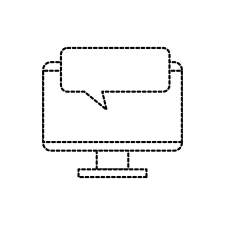 monitor device with speech bubble chatting vector illustration