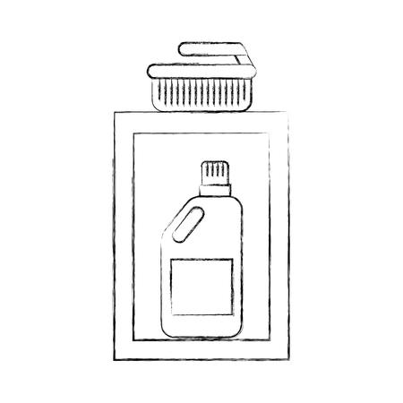 laundry drawer with detergent bottle brush vector illustration Иллюстрация