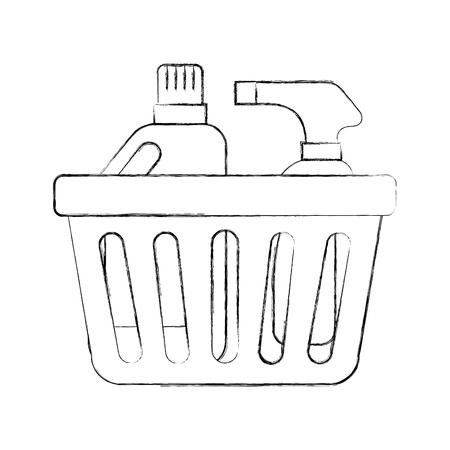 Bouteilles à linge panier tri et tapis d & # 39 ; art en plastique mat illustration vectorielle Banque d'images - 87733728