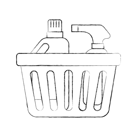 laundry basket bottles spray and shampoo plastic object equipment vector illustration Çizim