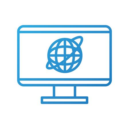 monitor screen world connection social media vector illustration Illustration