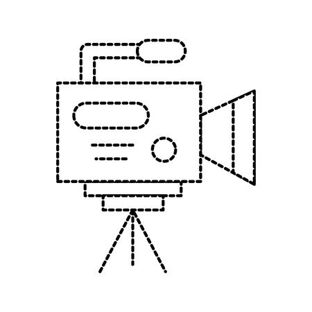 비디오 카메라 마이크 아이콘 전문 캠코더 삼각대 벡터 일러스트와 함께