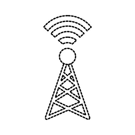 信号放送無線伝送と無線アンテナ ベクトル イラスト
