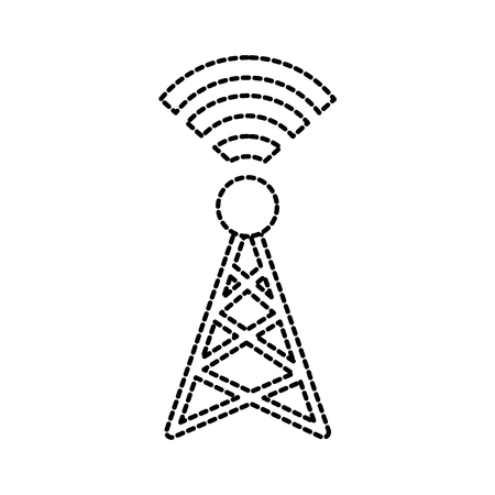 signal broadcasting radio transmitting and wireless antenna vector illustration Illustration