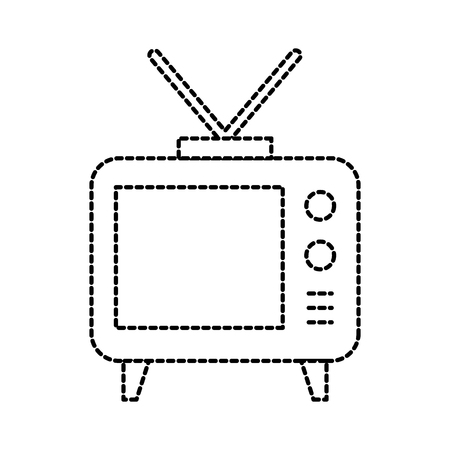electronic tv with antenna emission communication vector illustration