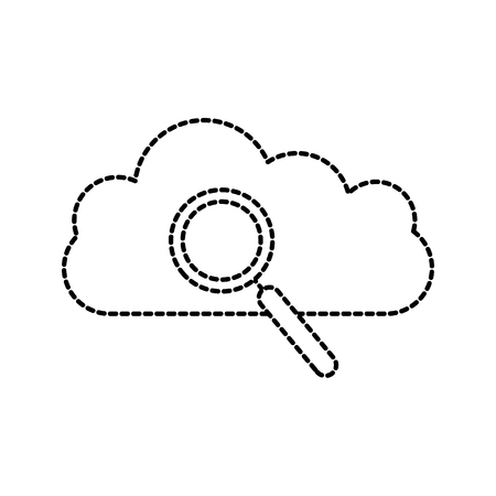 cloud magnifier search find information vector illustration