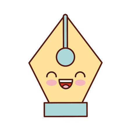 万年筆書道ボタン漫画ベクトル図  イラスト・ベクター素材
