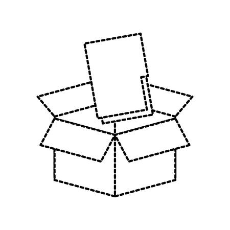 box with folder file storage secure information web vector illustration Çizim